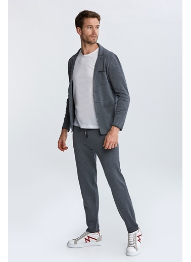 Hemington Extrafine Merino Koyu Loungewear Triko Hırka Gri